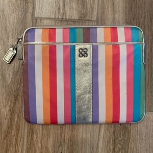 Coach IPad tablet case cover soft side stripe